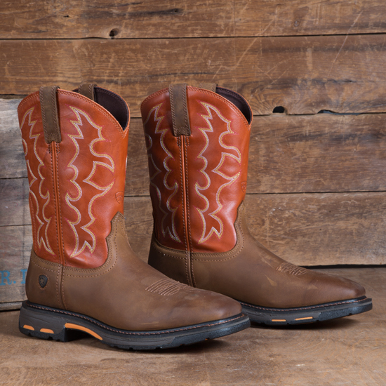 Ariat Brown Square Toe Work Hog